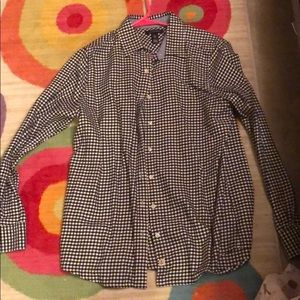 Black and white checker lands end flannel